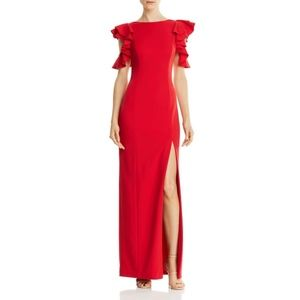NWT Aidan Mattox Red Cold Shoulder Ruffle Gown - 4